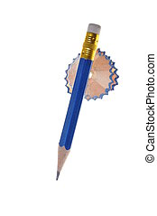 Blue pencil with eraser and shaving