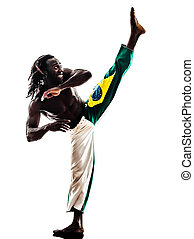 brazilian black man dancer dancing capoiera - one brazilian...