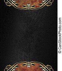 Elegant black texture with golden pattern on the edges....