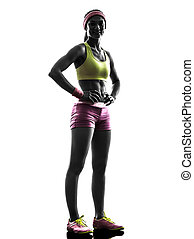 woman runner exercising posing silhouette - one caucasian...
