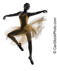 woman ballerina ballet dancer dancing silhouette - one woman...