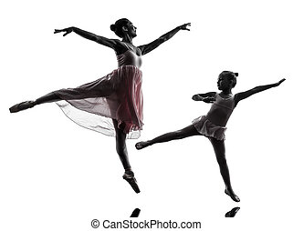 woman and little girl ballerina ballet dancer dancing in...