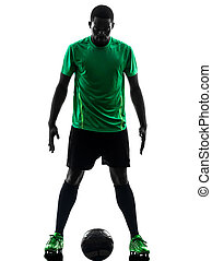 african man soccer player  standing silhouette