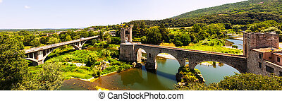Panoramic view of  bridgee in Besalu