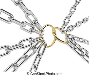 Golden Engagement Ring in a chrome chain, isolated on white