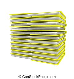 stack of folders isolated on white background. 3d rendered image