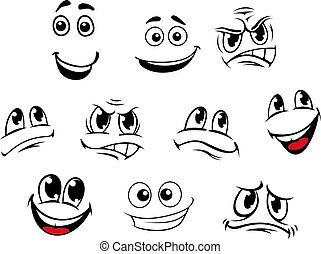 Cartoon faces set with different emotions for comics