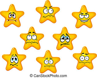 Yellow stars with negative emotions - Yellow stars set with...