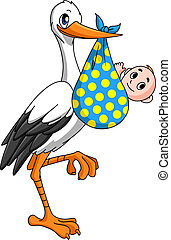 Stork with newborn baby for childbirth concept