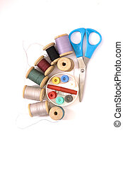 sewing kit - Set for sewing and needlework on a white...