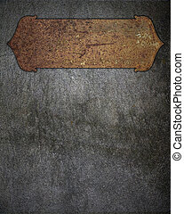 Rusty metal plate on a wall. Design template.
