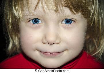 little girl portrait on dark background