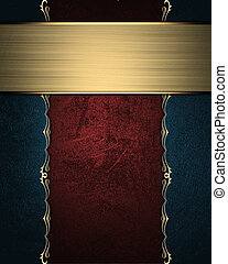 Wooden board with blue edge and gold trim - The template for...