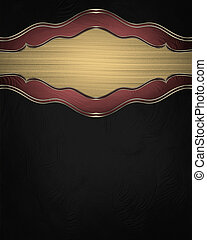 Black background with gold plate with red trim. Design...