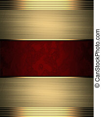 Red background with gold edges. Template for design
