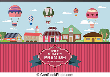 city twon with hot air balloon card
