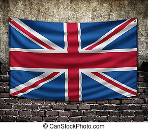 uk flag on old wall