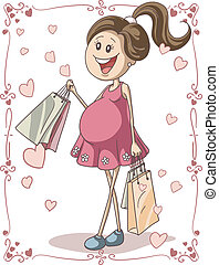 Pregnant Woman with Shopping Bags - Vector hand-drawn...