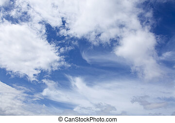 sky with white fluffy cloud background
