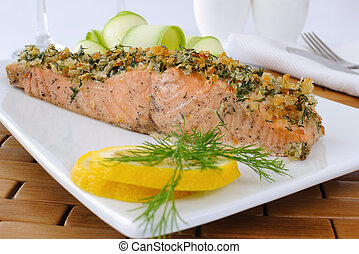 Baked salmon with a spicy crust with Parmesan