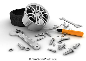 Wheel and Tools. Car service.