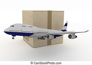 airliner with box on white. 3d global business commerce...
