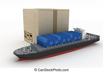 cargoship with box on white. 3d global business commerce...