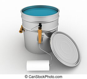 open bucket with a paint and roller.