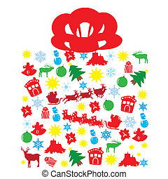 Christmas Box - vector box of Christmas elements or symbols