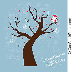 Snow Bird - vector tree with bird