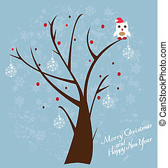Snow Owl - vector tree with owl in Santa Hat