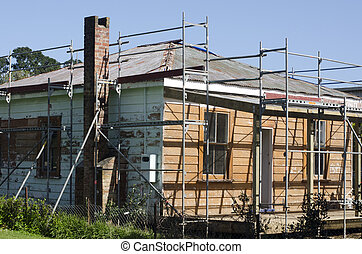 Old house repair - KAITAIA, NZ - AUG 29:Historic European...