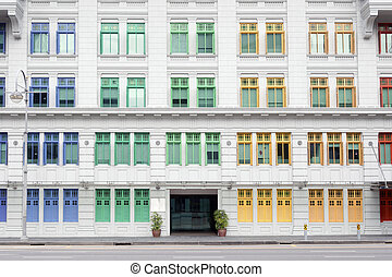 old police station, Singapore - colorful windows of old...