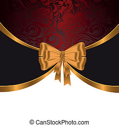 Gold ribbon on red ornament - elegant, festive background...