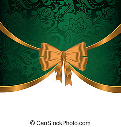 Gold ribbon on green ornament