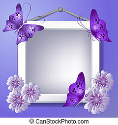 Photo frame with flowers and butterflies - Photo frame with...