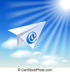 Paper airplane with e-mail sign in the sky