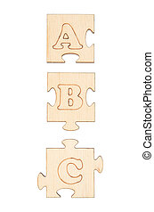 Puzzles with letters A, B and C isolated on white background
