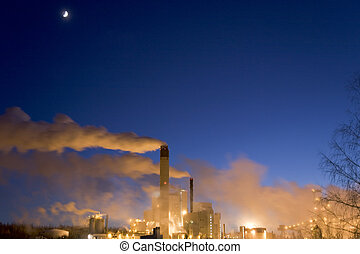 Paper Mill III - Paper mill on a winter night immediately...