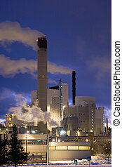 Paper Mill IV - Paper mill on a winter night immediately...