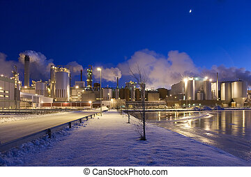Paper Mill by Winter Night - Paper mill on a winter night...