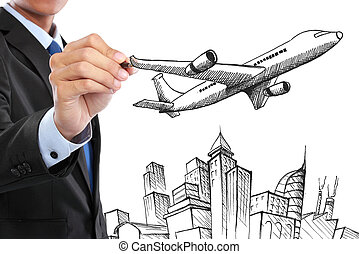 businessman drawing business travel concept
