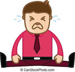 Office Man Crying - Cartoon Vector - Drawing Art of Young...
