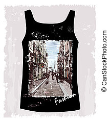 shirt with the image of the city environment