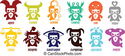 Set of cute astrological zodiac symbols - Horoscope signs.