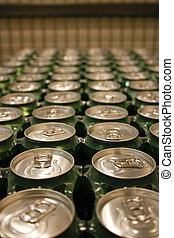 Cans - A row of metal drinking cans
