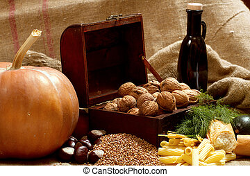 Still Life with Chest, Nuts, Pumpkin, Bread