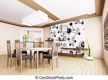 Interior of modern dining room 3d render
