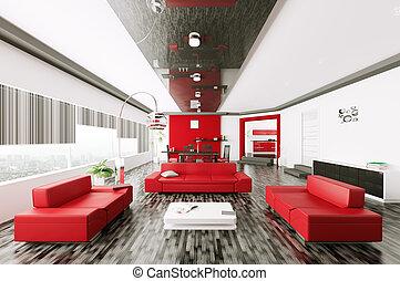 Living room interior 3d - Interior of modern living room 3d...