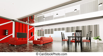 Interior of modern apartment panorama - Interior of modern...